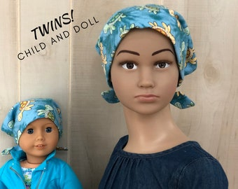 Child And Doll Flannel Head Scarves For Girls With Hair Loss, Cancer Gifts, Chemo Hats, Sea Turtles