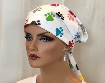 Scrub Caps For Women, Nurse Gift, Surgical Cap, Scrub Hats, Chemo Headwear, Headcoverings, Alopecia, Hair Wrap, Head Scarf, Paw Prints