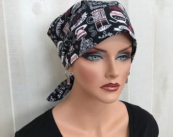 Women's Surgical Scrub Cap, Scrub Hat, Cancer Head Scarf, Chemo Headwear, Alopecia Head Cover, Head Wrap, Hair Wrap, Cancer Gift, Coffee