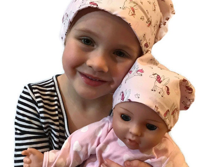 Featured listing image: Twin Head Scarves, Mia Child's Head Scarf And Shiri Doll Hat, Cancer Gift, Chemo Hat, Cancer Head Wrap, Alopecia, Hair loss, Sparkly Unicorn