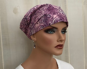 Women's Surgical Scrub Cap, Scrub Hat, Cancer Head Scarf, Chemo Headwear, Alopecia Head Cover, Head Wrap, Cancer Gift, Pink Swirls