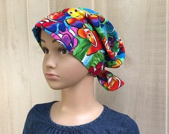 Children's Head Scarf, Girl's Chemo Hat, Cancer Headwear, Alopecia Head Cover, Head Wrap, Cancer Gift for Hair Loss Gift, Rainbow Clown Fish