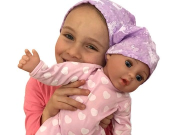 Twin Head Scarves, Jill Child's Head Scarf And Matching Shiri Doll Hat, Cancer Gift, Chemo, Cancer, Alopecia, Hair loss, Purple Fairies