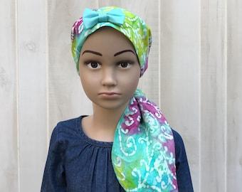 Child's Pre-Tied Head Scarf, Girl's Chemo Hat, Cancer Head Cover, Alopecia Headwear, Head Wrap, Cancer Gift, Hair Loss, Blue Purple Tie Dye