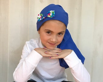 Child's Pre-Tied Head Scarf, Girl's Chemo Hat, Cancer Head Cover, Alopecia Headwear, Head Wrap, Cancer Gift, Hair Loss Gift, Caribbean Blue