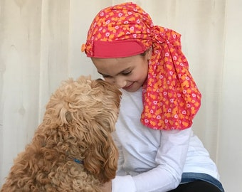 Child's Pre-Tied Head Scarf, Girl's Chemo Hat, Cancer Head Cover, Alopecia Headwear, Head Wrap, Cancer Gift, Hair Loss, Coral Flowers