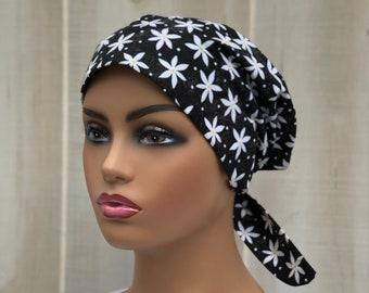 Surgical Cap Women, Nurse Gift, Scrub Hats, Head Scarf, Black White Floral