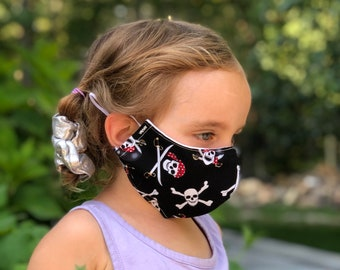 Washable Face Mask, Ages 5 - 12, Adjustable Elastic, Reusable Face Covering, Child Sizes, Pirates