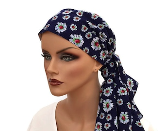 Jessica Pre-Tied Head Scarf, Women's Cancer Headwear, Chemo Scarf, Alopecia Hat, Head Wrap, Head Cover for Hair Loss - Blue Daisies