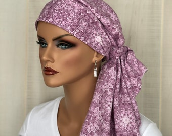 Pre-Tied Boho Head Scarf For Women With HairLoss, Breast Cancer Gifts, Pink Bohemian HeadWrap