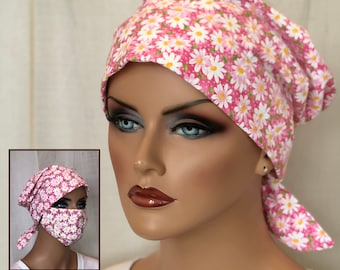 Scrub Caps For Women With Optional Matching Face Mask, Nurse Gift, Pink Daisies Floral Scrub Hats