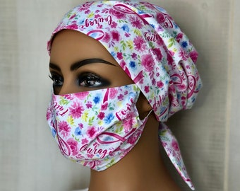 Scrub Caps For Women With Matching Face Mask, Oncology Nurse Gift, Pink Ribbon Scrub Hats