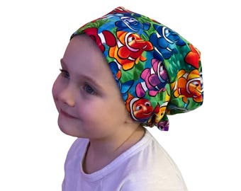 Mia Children's Head Cover, Girl's Cancer Hat, Chemo Scarf, Alopecia Headwear, Head Wrap, Cancer Gift for Hair Loss - Rainbow Clown Fish