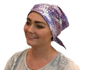 Women's Surgical Scrub Cap, Scrub Hat, Cancer Head Scarf, Chemo Headwear, Alopecia Head Cover, Head Wrap, Cancer Gift, Purple Swirls