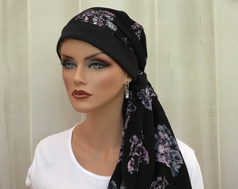 Boho Pre-Tied Head Scarf For Women With Hair Loss, Cancer Gifts, Chemo Headwear, Black Floral