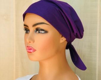 Women's  Scrub Cap, Scrub Hat, Cancer Head Scarf, Chemo Headwear, Alopecia Head Cover, Head Wrap, Cancer Gift, Dark Purple