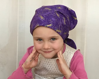 Children's Head Scarf, Girl's Chemo Hat, Cancer Head Cover, Alopecia Headwear, Head Wrap, Cancer Gift, Hair Loss Gift, Purple Dragonflies