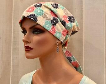 Women's Surgical Scrub Cap, Scrub Hat, Cancer Head Scarf, Chemo Headwear, Alopecia Head Cover, Head Wrap, Turban, Cancer Gift, Bright Flower