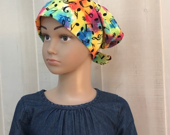 Children's Head Scarf, Girl's Chemo Hat, Cancer Headwear, Alopecia Head Cover, Head Wrap, Cancer Gift for Hair Loss, Tie Dye Music Notes