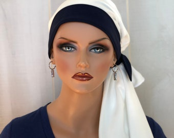 Pre-Tied Head Scarf For Women With Hair Loss, Cancer Gifts, Chemo Headwear, Headwrap, Navy Blue Band
