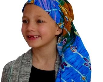 Ava Joy Children's Pre-Tied Head Scarf, Girl's Cancer Headwear, Chemo Head Cover, Alopecia Hat, Head Wrap for Hair Loss - Batik  Flowers