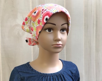 Children's Flannel Head Scarf, Girl's Cancer Hat, Chemo Headwear, Alopecia Head Cover, Head Wrap, Cancer Gift, Hair Loss, Pink Flowers