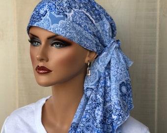 Pre-Tied Head Scarf For Women With Hair Loss. Cancer Headwear, Chemo Hat, Alopecia Head Cover, Hair Wrap, Head Wrap, Turban, Blue Boho