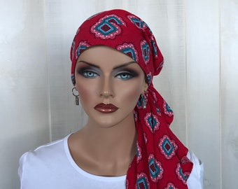 Pre-Tied Head Scarf For Women With Hair Loss, Cancer Gifts, Chemo Headwear, Southwestern Red