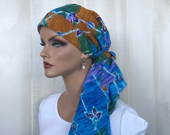 Pre-Tied Head Scarf For Women With Hair Loss. Cancer Headwear, Chemo Hat, Alopecia Head Cover, Hair Wrap, Head Wrap, Turban, Blue Floral