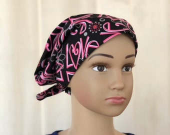 Children's Head Scarf, Girl's Chemo Hat, Cancer Headwear, Alopecia Head Cover, Head Wrap, Cancer Gift for Hair Loss Gift, Pink Love Hearts