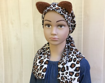 Pre-Tied, Head Scarf For Girls, Halloween Costume, Chemo Headwear, Alopecia, Cancer Gifts, Brown Cheetah