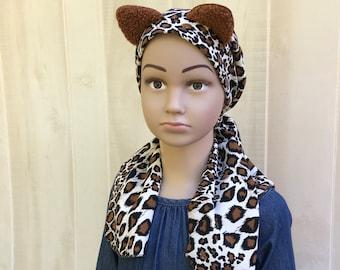 Child's Pre-Tied Head Scarf, Girl's Chemo Hat, Cancer Head Cover, Alopecia Headwear, Cancer Gift, Hair Loss, Brown Cheetah