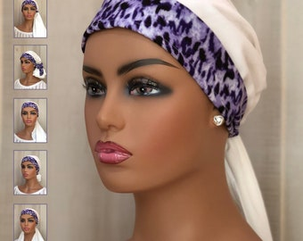 Pre-Tied Head Scarf For Women With Hair Loss, Breast Cancer Gifts, Head Wrap, Purple Cheetah On Ivory