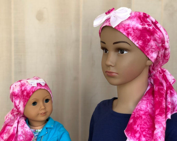 Featured listing image: Child And Doll Pre-Tied Head Scarf For Girls With Hair Loss, Gift For Daughter, Chemo Hats, Pink Tie Dye