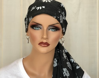 Pre-Tied Head Scarf For Women With Hair Loss, Cancer Gifts, Chemo Headwear, Distressed Black And White Flowers