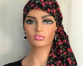 Christmas Pre-Tied Head Scarf For Women With Hair Loss, Breast Cancer Gifts, Head Wrap, Red Roses