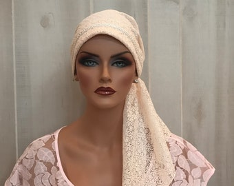 Pre-Tied Head Scarf, Women's Cancer Headwear, Chemo Head Cover, Alopecia Hat, Head Wrap, Hair Loss, Cancer Gift, Ivory Lace
