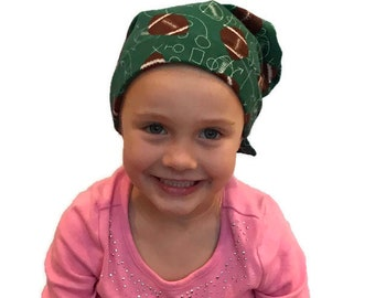 Jaye Children's Flannel Head Scarf, Girl's Cancer Hat, Chemo Head Cover, Alopecia Hat, Head Wrap, Cancer Gift, Hair Loss, Football