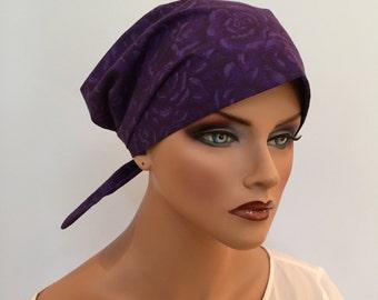Women's Surgical Scrub Cap, Scrub Hat, Cancer Head Scarf, Chemo Headwear, Alopecia Head Cover, Head Wrap, Hair Loss, Purple Roses