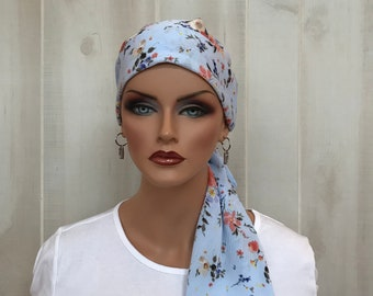 Pre-Tied Head Scarf, Women's Cancer Headwear, Chemo Head Cover, Alopecia Hat, Head Wrap, Hair Loss, Cancer Gift, Light Blue Flowers