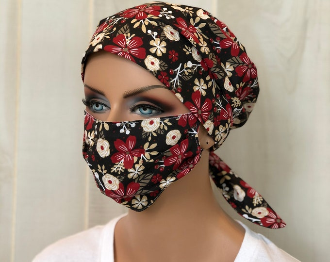 Featured listing image: Surgical Cap Women, Face Mask, Nurse Gift, Scrub Hats, Black Red Floral