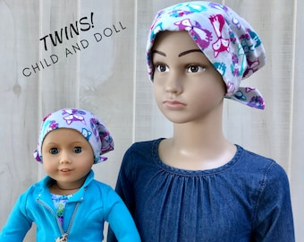Child And Doll Flannel Head Scarves For Girls With Hair Loss, Cancer Gifts, Chemo Hats, Gray Foxes