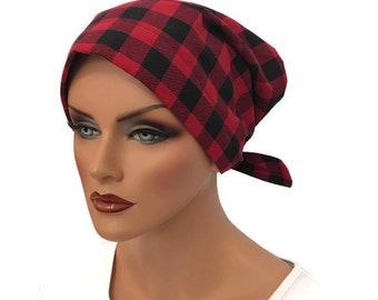 Women's Surgical Scrub Cap, Scrub Hat, Cancer Head Scarf, Chemo Headwear, Alopecia Head Cover, Head Wrap, Cancer Gift, Red and Black Plaid