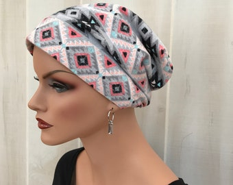 Women's Flannel Head Scarf, Cancer Headwear, Chemo Hat, Alopecia Head Cover, Head Wrap, Hair Loss, Cancer Gift, Chemo Gift, Gray Aztec