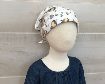 Children's Flannel Head Scarf, Girl's Cancer Hat, Chemo Headwear, Alopecia Head Cover, Head Wrap, Cancer Gift, Hair Loss, Yellow Bees