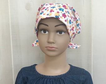 Children's Head Scarf, Girl's Chemo Hat, Cancer Head Cover, Alopecia Headwear, Head Wrap, Cancer Gift, Hair Loss Gift, Bright Flowers