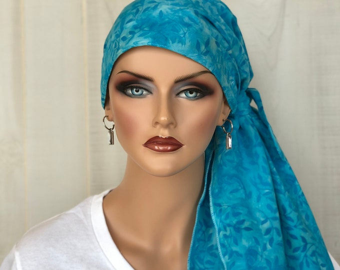 Featured listing image: Pre-Tied Head Scarf For Women With Hair Loss. Cancer Headwear, Chemo Hat, Alopecia Head Cover, Hair Wrap, Head Wrap, Turban, Turquoise Blue