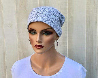 Women's Flannel Head Scarf, Cancer Headwear, Chemo Hat, Alopecia Head Cover, Head Wrap, Hair Loss, Cancer Gift, Gray and White Medallions
