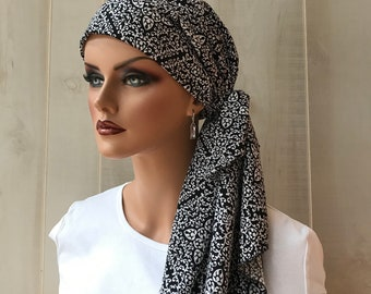 Pre-Tied Head Scarf For Women With Hair Loss. Cancer Headwear, Chemo Head Cover, Alopecia Hat, Head Wrap, Turban, Black White Filigree