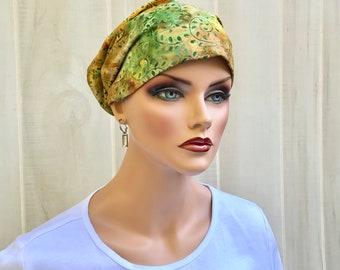 Women's Surgical Scrub Cap, Scrub Hat, Cancer Head Scarf, Chemo Headwear, Alopecia Head Cover, Head Wrap, Cancer Gift, Autumn Batik